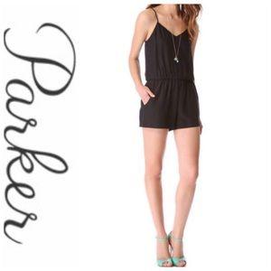 💕SALE💕 Parker Silk Black Shorts Razorback Romper